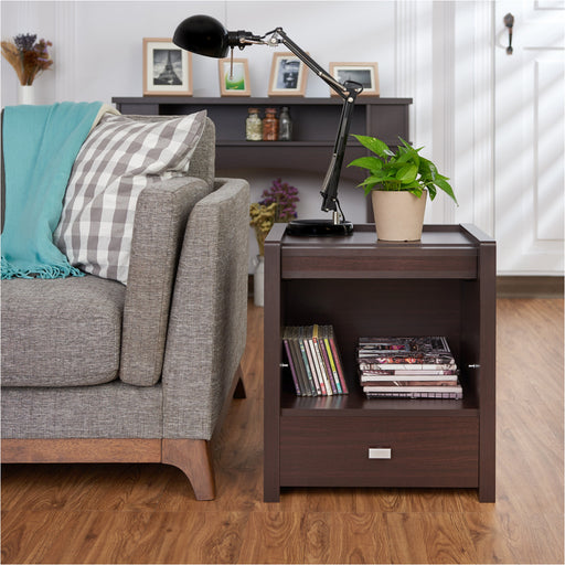 Gavida Contemporary Magazine Rack Square End Table-end table-Furniture of America-Wall2Wall Furnishings