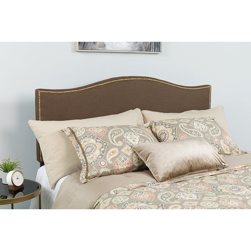 Lexington Arched Upholstered Headboard with Accent Nail Trim-Headboard-Flash Furniture-Wall2Wall Furnishings