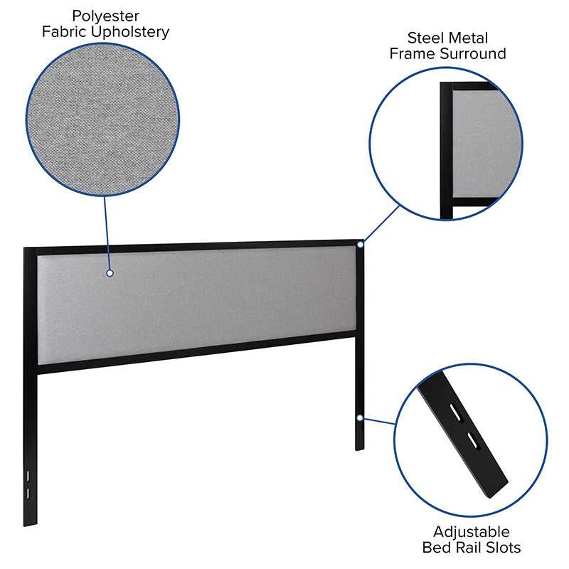 Melbourne Metal Upholstered Headboard - Modern Headboard-Headboard-Flash Furniture-Wall2Wall Furnishings