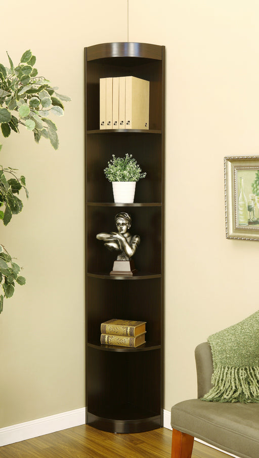 Waren Contemporary 5 Shelf Corner Display Case-bookcase-Furniture of America-Wall2Wall Furnishings