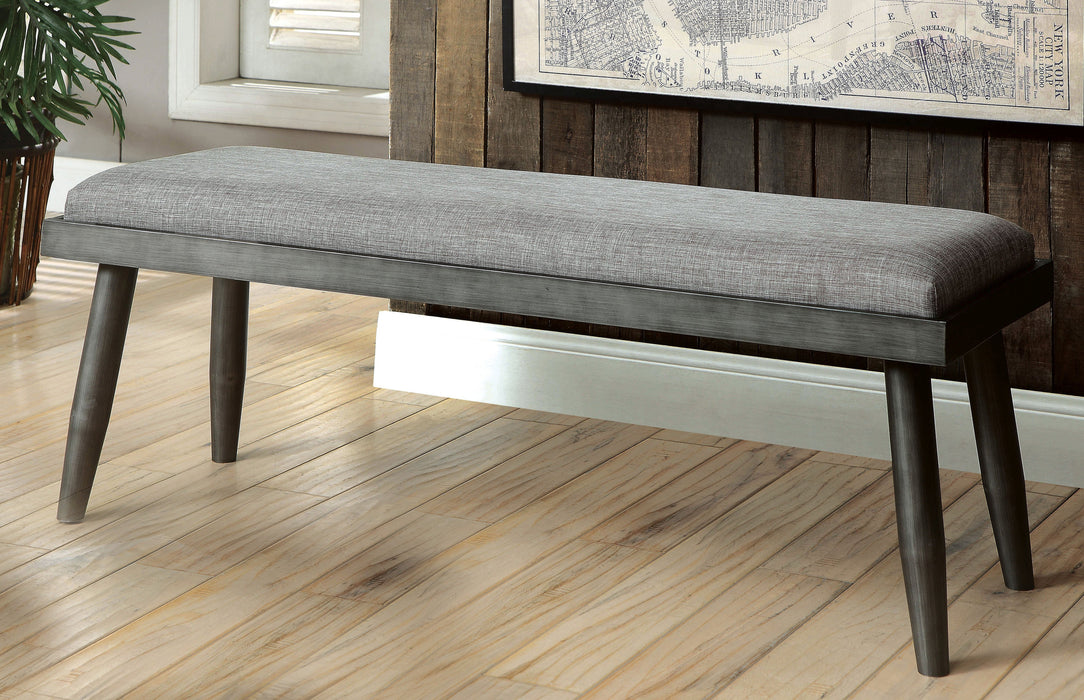 Gentil Jaylynn Mid Century Modern Fabric Padded Dining Bench Bench Furniture Of  America