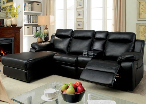 Becarra Transitional Style Leatherette Chaise Sectional Recliner-sectional-Furniture of America-Wall2Wall Furnishings