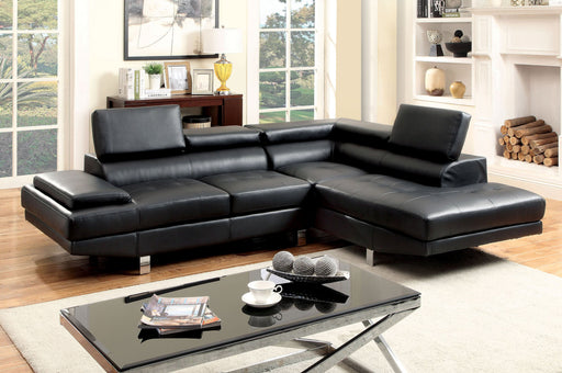 Aster Contemporary Style Black Leatherette Adjustable Headrest Sectional-sectional-Furniture of America-Wall2Wall Furnishings