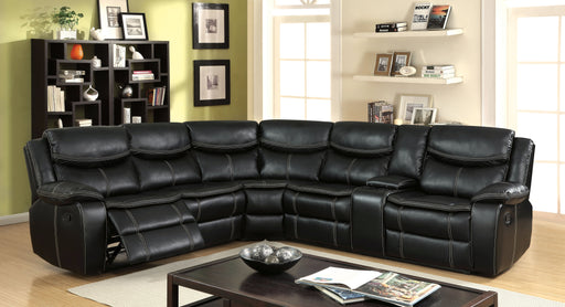 Giani Transitional Style Plush Breathable Leatherette Recliner Sectional-sectional-Furniture of America-Wall2Wall Furnishings