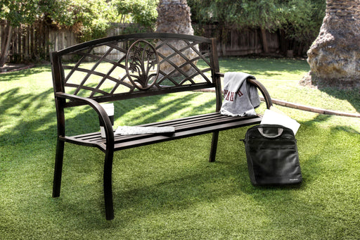 Adeah Contemporary Style Steel Finish Outdoor Patio Bench-outdoor bench-Furniture of America-Wall2Wall Furnishings