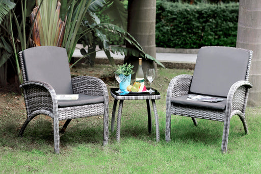 Vessy Transitional Style 3PC Outdoor Patio Lounge Set-outdoor set-Furniture of America-Wall2Wall Furnishings