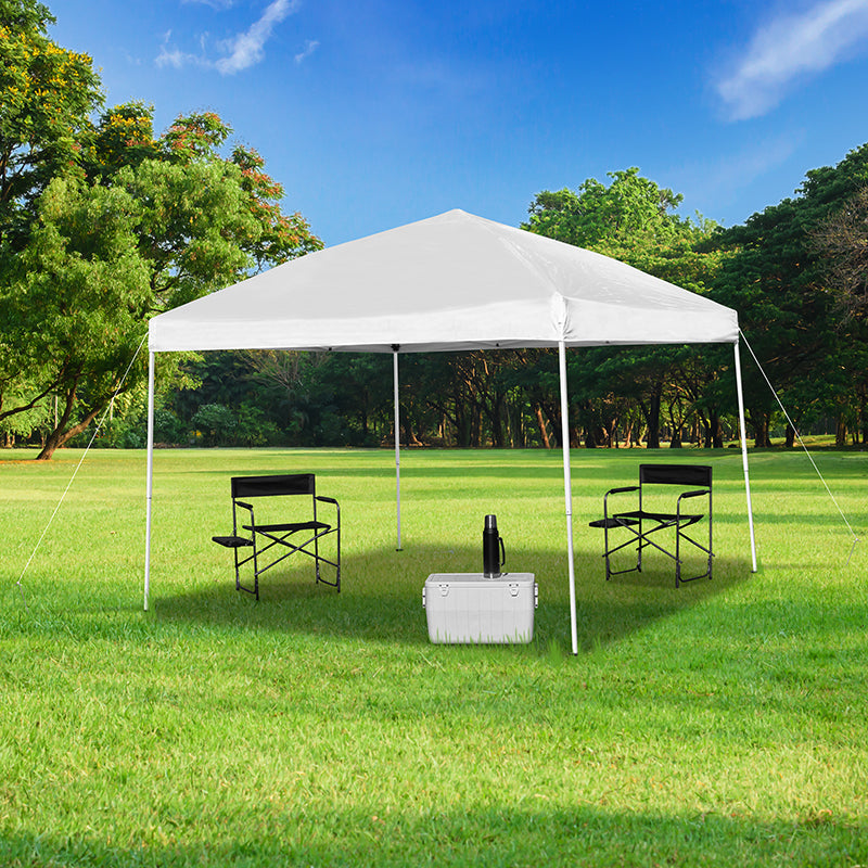 10'x10' Outdoor Pop Up Event Slanted Leg Canopy Tent with Carry Bag-Canopy Tent-Flash Furniture-Wall2Wall Furnishings