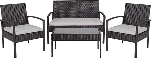Aransas Series 4 Piece Patio Set with Steel Frame and Cushions-Outdoor Set-Flash Furniture-Wall2Wall Furnishings