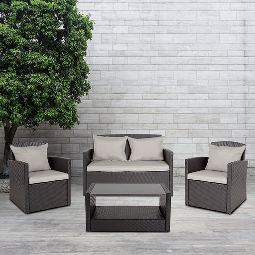 Aransas Series 4 Piece Patio Set with Back Pillows and Seat Cushions-Outdoor Set-Flash Furniture-Wall2Wall Furnishings