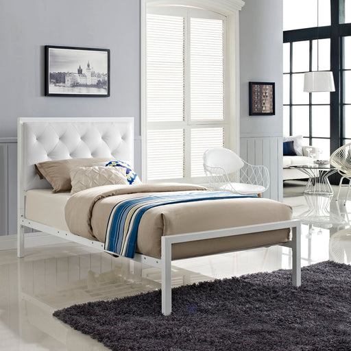Mia Vinyl Bed-Bed-Modway-Wall2Wall Furnishings