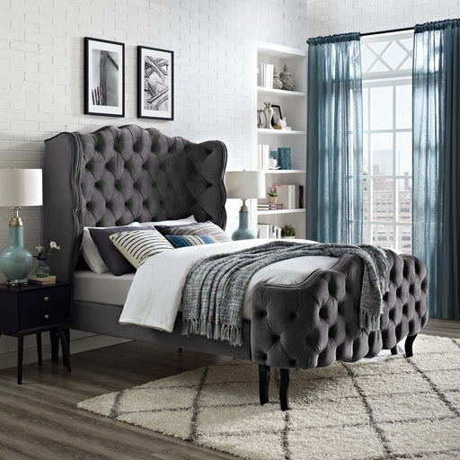 Violette Tufted Wingback Performance Velvet Platform Bed-Bed-Modway-Wall2Wall Furnishings