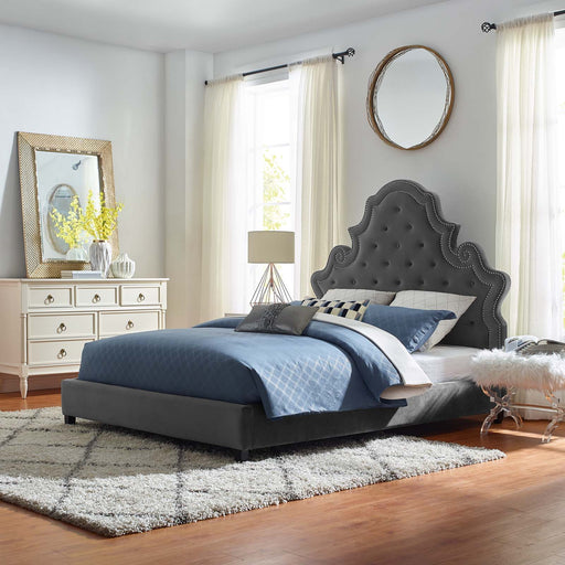 Valentina Tufted Nailhead Performance Velvet Platform Bed-Bed-Modway-Wall2Wall Furnishings