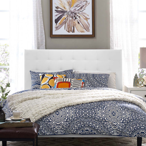 Paisley Tufted Upholstered Faux Leather Headboard-Headboard-Modway-Wall2Wall Furnishings