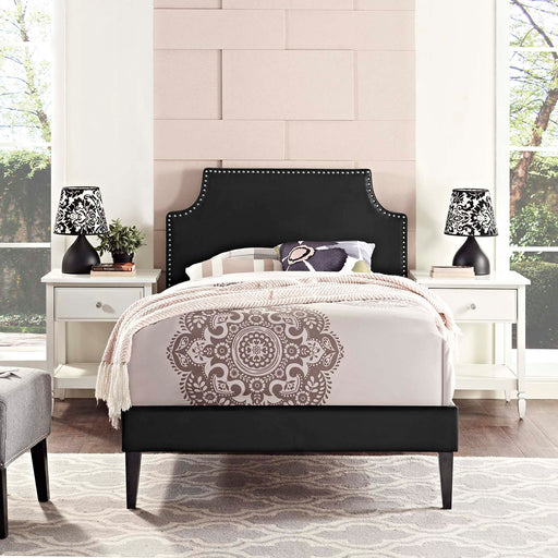 Corene Vinyl Platform Bed with Squared Tapered Legs-Bed-Modway-Wall2Wall Furnishings