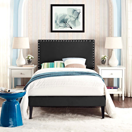 Macie Vinyl Platform Bed with Squared Tapered Legs-Bed-Modway-Wall2Wall Furnishings