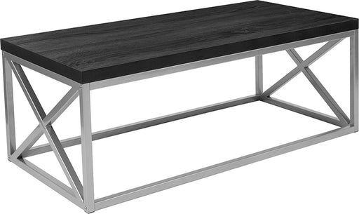 Park Ridge Coffee Table with Silver Finish Frame-Coffee Table-Flash Furniture-Wall2Wall Furnishings