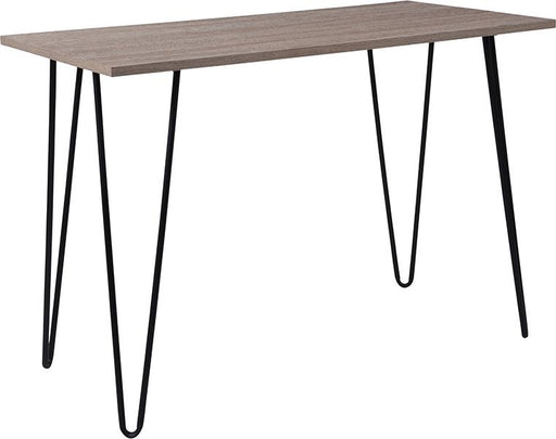 Oak Park Collection Wood Grain Finish Console Table with Metal Legs-Console Table-Flash Furniture-Wall2Wall Furnishings