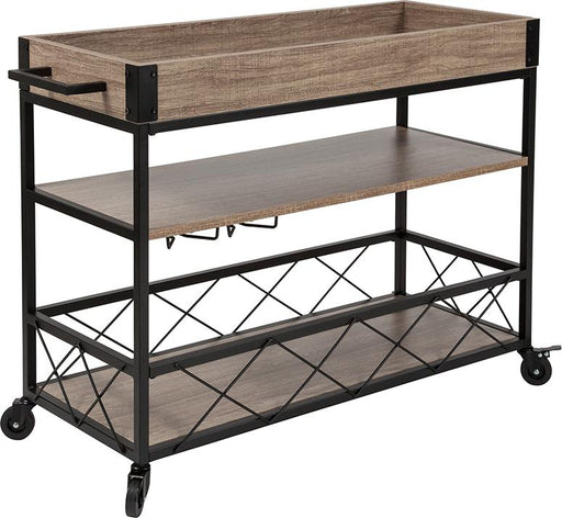 Buckhead Distressed Wood and Iron Kitchen Serving and Bar Cart with Wine Glass Holders-Serving Cart-Flash Furniture-Wall2Wall Furnishings