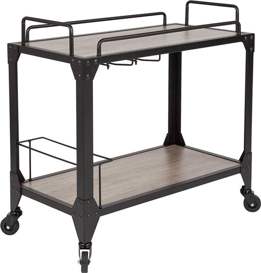 Midtown Wood and Iron Kitchen Serving and Bar Cart with Wine Glass Holders-Serving Cart-Flash Furniture-Wall2Wall Furnishings