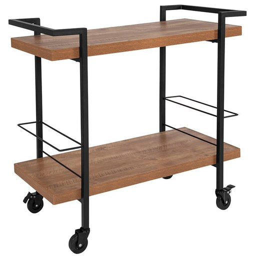 Castleberry Wood Grain and Iron Kitchen Serving and Bar Cart-Serving Cart-Flash Furniture-Wall2Wall Furnishings