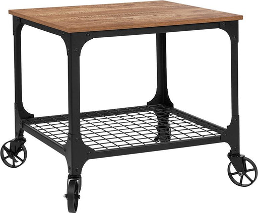 Grant Park Wood Grain and Industrial Iron Kitchen Serving and Bar Cart-Serving Cart-Flash Furniture-Wall2Wall Furnishings