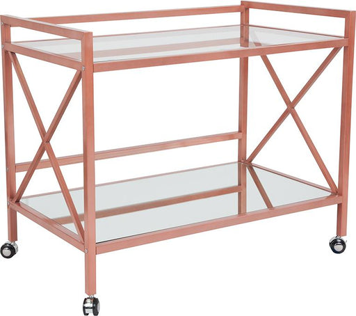 Glenwood Park Glass Kitchen Serving and Bar Cart-Serving Cart-Flash Furniture-Wall2Wall Furnishings