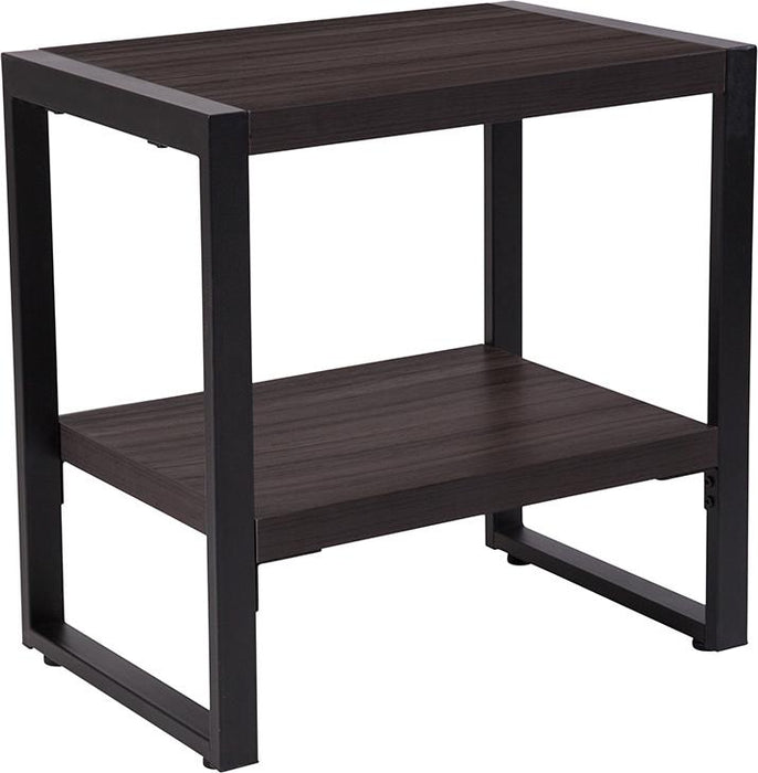 Thompson Collection Wood Grain Finish End Table with Metal Frame-End Table-Flash Furniture-Wall2Wall Furnishings
