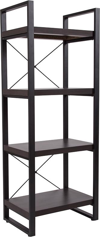Thompson Collection Wood Grain Finish Bookshelf with Metal Frame-Bookcase-Flash Furniture-Wall2Wall Furnishings