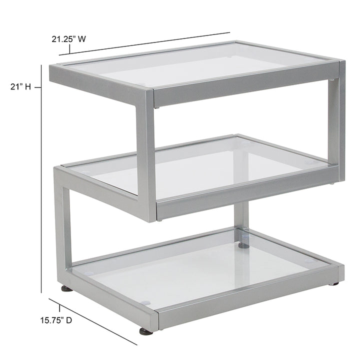 "Ashmont Collection Glass End Table with ""S"" Shaped Contemporary Steel Design-End Table-Flash Furniture-Wall2Wall Furnishings"