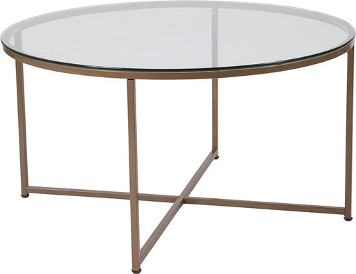 Greenwich Collection Round Glass Coffee Table with Cross Brace Matte Frame-Coffee Table-Flash Furniture-Wall2Wall Furnishings