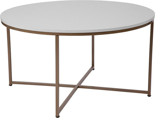 Hampstead Collection Coffee Table with Metal Frame-Coffee Table-Flash Furniture-Wall2Wall Furnishings