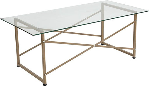 Mar Vista Collection Glass Coffee Table with Criss Cross Matte Frame-Coffee Table-Flash Furniture-Wall2Wall Furnishings
