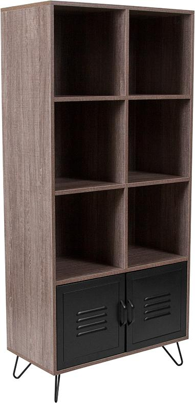 Woodridge Collection Storage Shelf with Metal Cabinet Doors and Black Metal Legs-Bookcase-Flash Furniture-Wall2Wall Furnishings