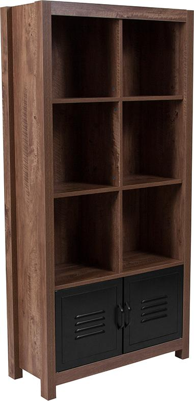New Lancaster Collection Storage Shelf with Metal Cabinet Doors-Bookcase-Flash Furniture-Wall2Wall Furnishings