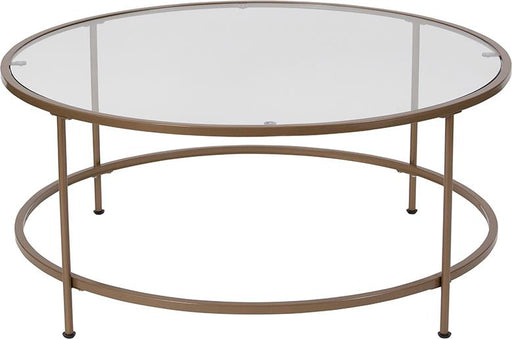 Astoria Collection Round Glass Coffee Table with Round Matte Frame-Coffee Table-Flash Furniture-Wall2Wall Furnishings