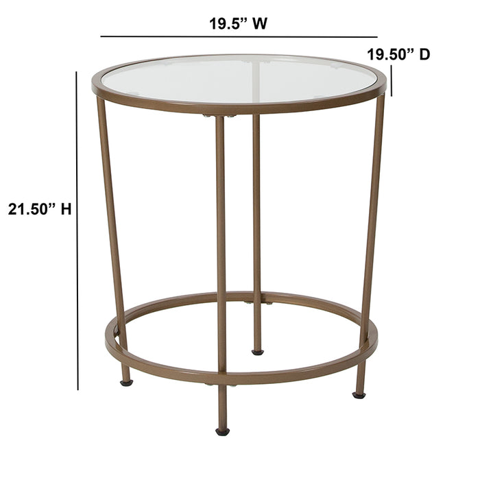 Astoria Collection Round Glass End Table with Round Matte Frame-End Table-Flash Furniture-Wall2Wall Furnishings