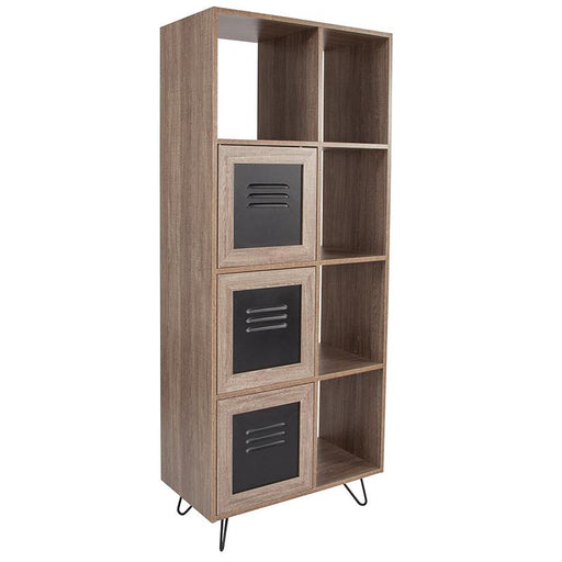 "Woodridge Collection 63"" High Wood Grain Finish Bookshelf with Metal Storage Doors-Bookcase-Flash Furniture-Wall2Wall Furnishings"