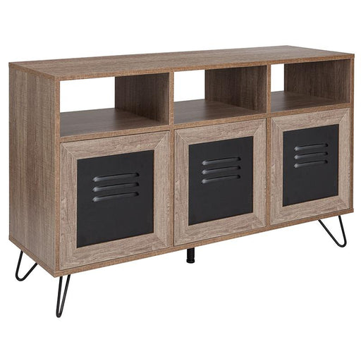 "Woodridge Collection 44""W Wood Grain Finish Console and Storage Cabinet with Metal Doors-Bookcase-Flash Furniture-Wall2Wall Furnishings"