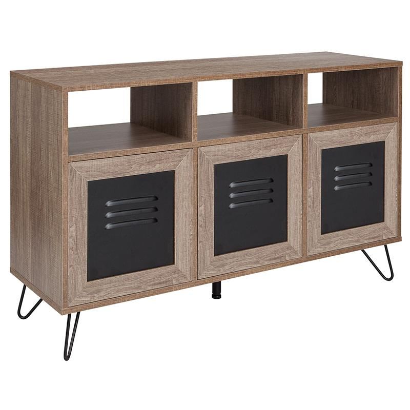 "Woodridge Collection 44""W 3 Shelf Storage Console/Cabinet with Metal Doors-Bookcase-Flash Furniture-Wall2Wall Furnishings"