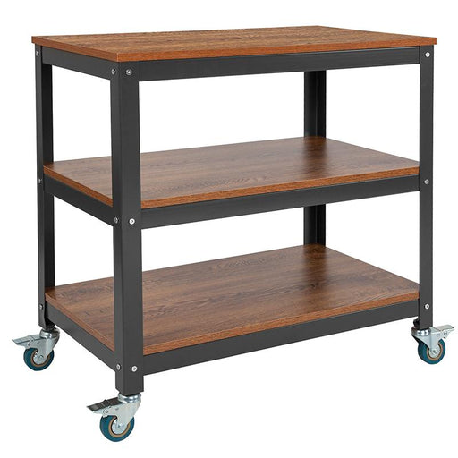 "Livingston Collection 30"" x 30"" Storage Cart in Wood Grain Finish with Metal Wheels-Bookcase-Flash Furniture-Wall2Wall Furnishings"