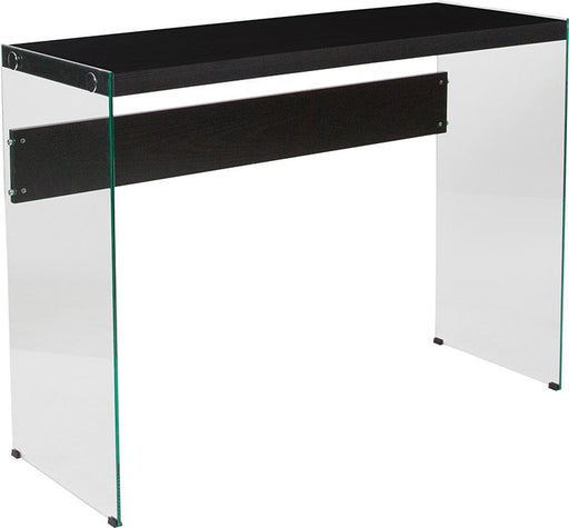 Highwood Collection Console Table with Shelves and Glass Frame-Console Table-Flash Furniture-Wall2Wall Furnishings
