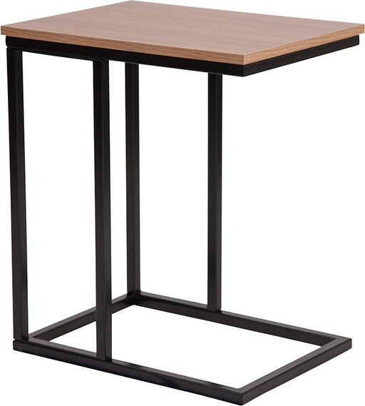 Aurora Wood Grain Finish Side Table with Metal Cantilever Base-Side Table-Flash Furniture-Wall2Wall Furnishings