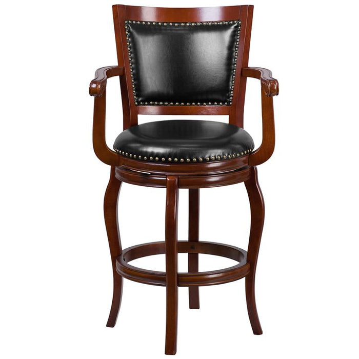 30'' High Wood Barstool with Leather Swivel Seat-Bar Stool-Flash Furniture-Wall2Wall Furnishings