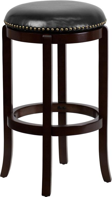 29'' High Backless Wood Barstool with Leather Swivel Seat-Bar Stool-Flash Furniture-Wall2Wall Furnishings