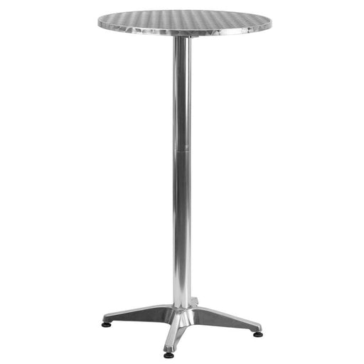 25.5'' Round Aluminum Indoor-Outdoor Folding Bar Height Table with Base-Indoor/Outdoor Bar Tables-Flash Furniture-Wall2Wall Furnishings