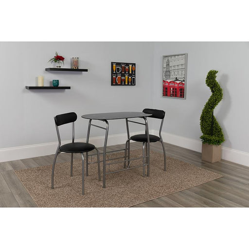 Sutton 3 Piece Space-Saver Bistro Set with Glass Top Table and Vinyl Padded Chairs-Dining Room Set-Flash Furniture-Wall2Wall Furnishings