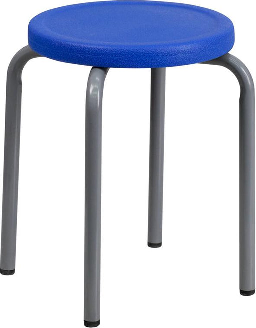 Stackable Stool with Silver Powder Coated Frame-Office Chair-Flash Furniture-Wall2Wall Furnishings