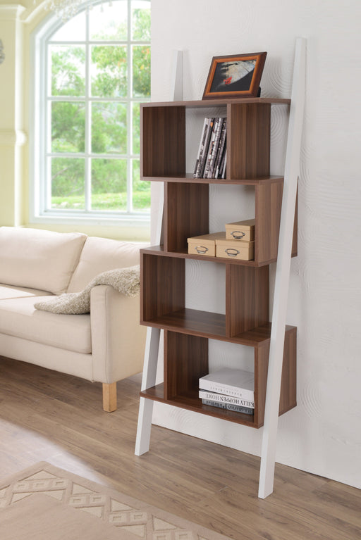Weston Contemporary Style Two-Tone Leaning Display Case-bookcase-Furniture of America-Wall2Wall Furnishings