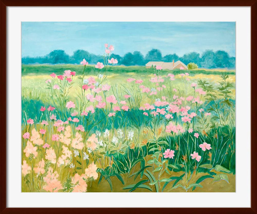 Pink Flower Field - Wall Art-Wall Art-Surya-Wall2Wall Furnishings