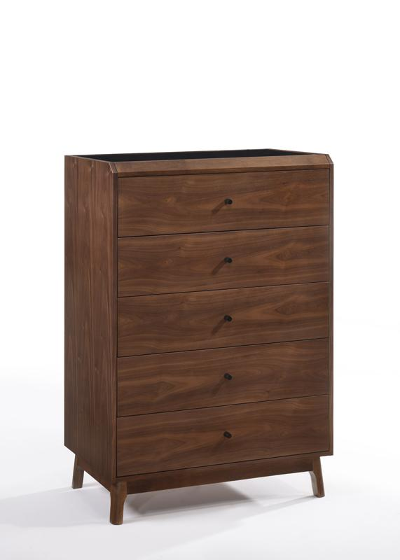 Modrest Gibson Modern Walnut & Black Glass Chest-Chest-VIG-Wall2Wall Furnishings